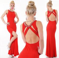 Vestito abito lungo donna rosso sirena strass elegante sera sexy nuovo 7f88353f19f