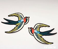 Mirror Swallow Sparrow Bird Fashion Embroidered Sew On Patch DIY Applique