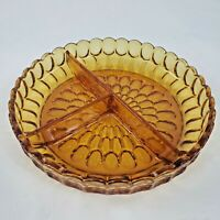 "Fenton Colonial Amber 8.5"" Thumbprint 3-Part Relish Dish Vintage 1960s - 1970s"