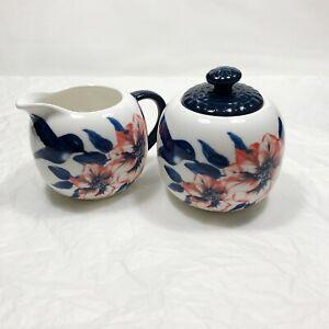 10 Strawberry Street Sugar Bowl & Creamer Royal Hummingbird With Flowers