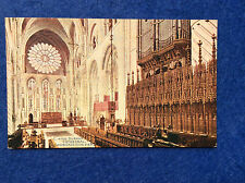 Hand coloured postcard: Durham, cathedral interior, east choir, side view