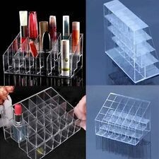 Women Clear Acrylic 24 Lipstick Holder Cosmetic Organizer Display Makeup Case QW