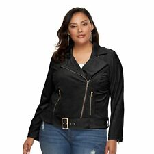 Women's Jennifer Lopez Black Faux-Suede Moto Jacket  Size 0X