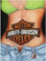 Harley Davidson Logo On Girl Grande Goffrato Segno Del Metallo 400mm x 300mm (