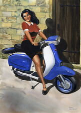 Retro Lambretta and Damsel - Scooter, Vespa, Lambretta Print