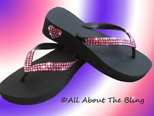 Crystal flip flops Havaianas or wedge using Swarovski Pink Exclusive Heart