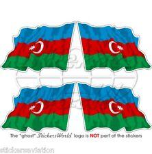ASERBAIDSCHAN Wehende Flagge Azerbaijani Fahne 50mm Vinyl Sticker Aufkleber x4