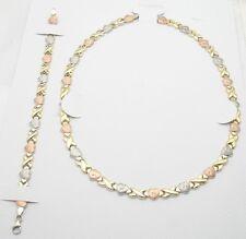 Hearts & Kisses Bracelet Necklace Set 14K Tricolor Gold Clad Silver 925