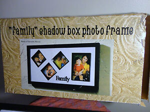 "Black 4 openings Durable Plastic "" Family""  Shadow Box Photo Frame 10 x 17 inch"