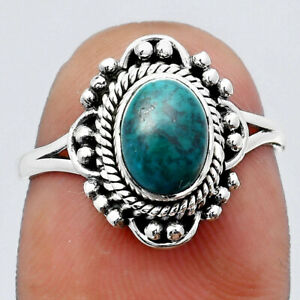 Natural Azurite Chrysocolla 925 Sterling Silver Ring s.7 Jewelry E286