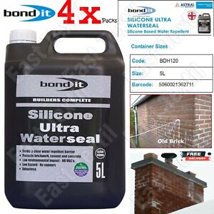 4 x Bond It 5L Silicone ULTRA Waterseal Water Seal Repellent For Masonry Render