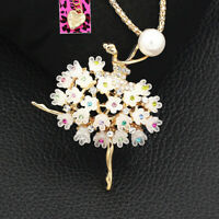 Betsey Johnson Resin Crystal Flower Ballerina Girl Pendant Necklace/Brooch Pin