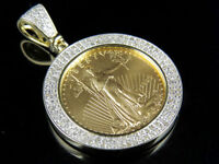 Solid 10K Yellow Gold Lady Liberty Coin Pave Real Diamond Charm Pendant 1.0 ct
