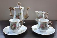 Lovely Antique Hot Chocolate Set by G.D. & Cie Porcelain, Limoges, France  c1890