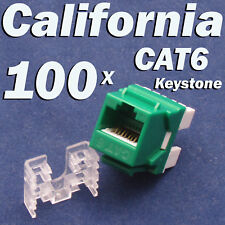100 Pcs lot Keystone Jack CAT6 Green Network Ethernet 110 Punch Down 8P8C RJ45