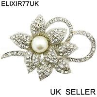 NEW LARGE SILVER DIAMANTE PEARL FLOWER BROOCH PIN BOUQUET LOT WEDDING BOW BRIDAL