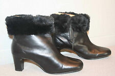 7 M NOS VTG 60s ANKLE Winter BOOT BLACK LEATHER FAUX FUR MOD 2 3/8 HI HEEL Shoe