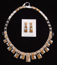 Native American Handmade Silver with Inlay Necklace & Earrings Calvin Begay