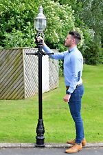 USED Ex-Display 2.3m Black and Raw Aluminium Glass Victorian Garden Lamp Post