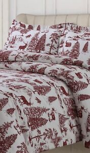 Tribeca Living Mountain Toile King Duvet Set Flannel Red Ivory Cotton 3 Pc New