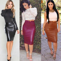 New Women Ladies Leather High Waist Slim Party Club Pencil Skirt Sexy Dress Plus