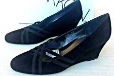 NIB NEW ~ Markon ~ Suede Leather Black Wedge Heels Dress Shoes ~ Women's  8 1/2