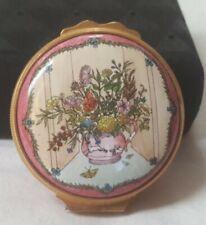 Vintage Halcyon Days Enamels London England Trinket Pink Flower Vase Butterflys