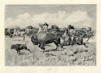 FREDERIC REMINGTON INDIANS HUNTING BUFFALO WITH BOW AND ARROW SPEAR ON HORSEBACK