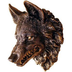 Wandrelief Wanddeko Wolf Kopf bronze Farben Wölfe Wolfskopf Figur DECO175
