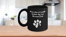 Birman Cat Mug Coffee Tea Black Paw Print Cat Lover Furbaby Cat Mom Cat Dad