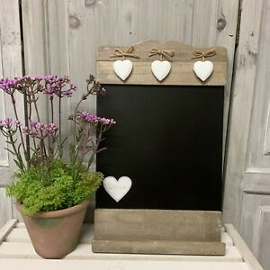 Rustic Wood Country Kitchen Chalk Board Hanging Heart Wall French Vintage Black