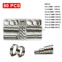 80Pcs Stainless Steel Single 1-Ear Hose Stepless Clamp Assorted Kits 5.8-23.5mm