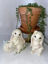 """Homco/Home Interiors """"Lovin' Bunnies"""" #12002 Set of 2 Easter Rabbits Hare"""
