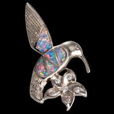 Hummingbird & Flower Lavender Purple Fire Opal Silver Jewelry Necklace Pendant