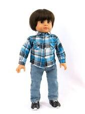 Blue  Plaid Shirt Fits 18 inch American Girl Boy Doll