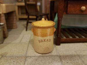 Dolls house artisan Stokesay Ware bread bin, bread crock, signed, small chip