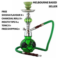 Hookah Football Green Shisha, Free Flavour x 1, Charcoal x 1, Mouth Tips x 4