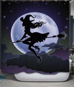 "Halloween Witch on Broom Moon Fabric SHOWER CURTAIN 70"" w/Hooks"