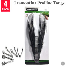 """Tramontina ProLine Stainless Steel Tongs w/ Silicone Grips 4 Pack - 9.5"""" & 12"""""""