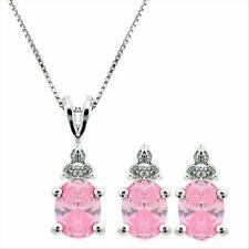 925 Silver Pink & Clear CZ Three Stone Earrings and Pendant Set