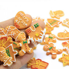 10Pcs Christmas Cookies Snowman Flat Back Resin Cabochon Fake Biscuits Crafts