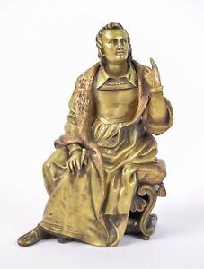 Vintage Bronze Sculpture Renaissance-Era Man Scholar Author with Pen or Chisel