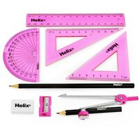 Helix Cool Curves Maths Geometry Exam Set - 9 Piece Assorted Pink