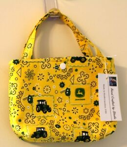 Snap Tote Hand Bag Child Ages 2+ John Deere Yellow & Green Hand Made in USA NEW