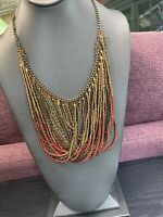 Vintage Bohemian Multi strand seed bead gold Brown Amber beaded necklace 18""