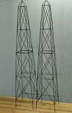 Factory Second - Pair of Roman Steel Garden Obelisks (2.1m)