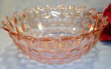 Pink Depression Glass Cube Cubist Large Berry Bowl 7.5 inch with Pointed Edges