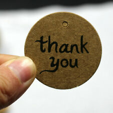 "100Pcs/Lot ""thank you"" Kraft Paper Hang Tag Diameter 4cm With 30m String"