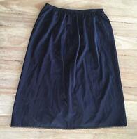 Vanity Fair Womens Black Half Slip Side Slit - 100% Nylon Size Small / 22 in