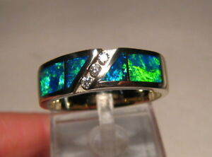 Brilliant Gem Grade  Opal and  Diamond Ring  14 k White Gold size 12